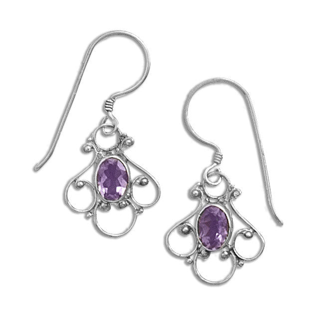 Sterling Silver and Amethyst Filigree Earrings - By E Artisan Jewelry