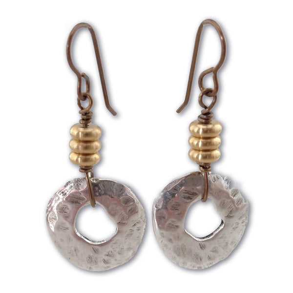 Mixed Metals Earrings - By E Artisan Jewelry