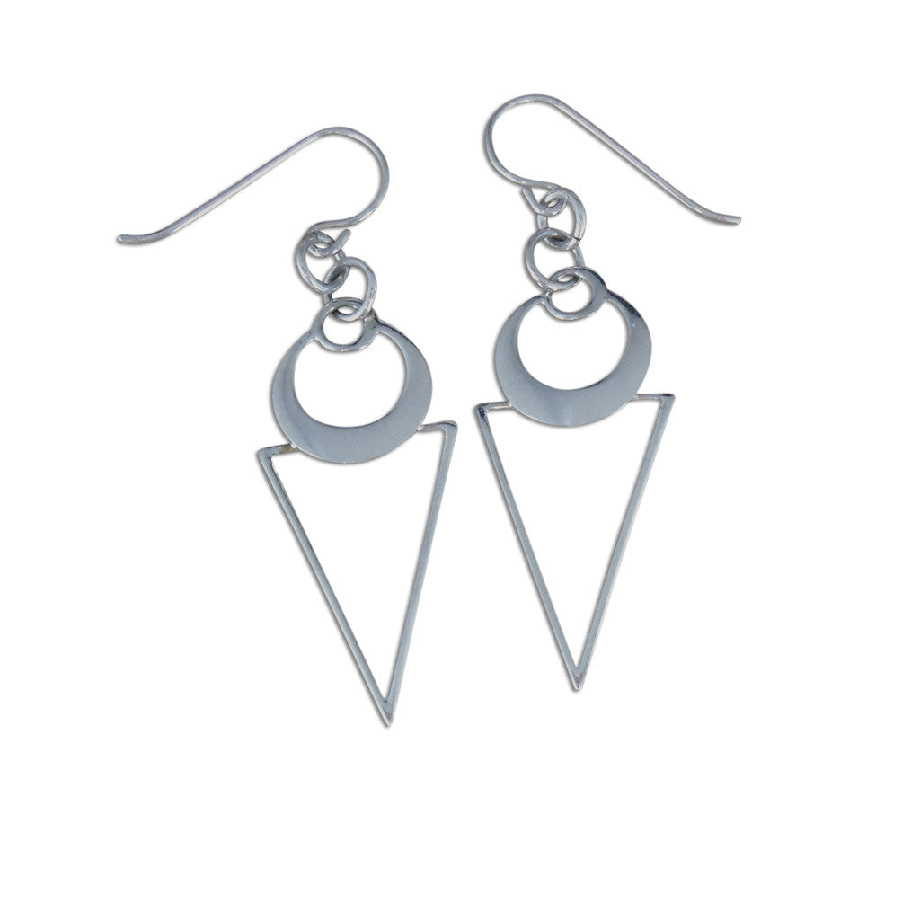 Sterling Silver Circles and Triangles Geometric Earrings - By E Artisan Jewelry