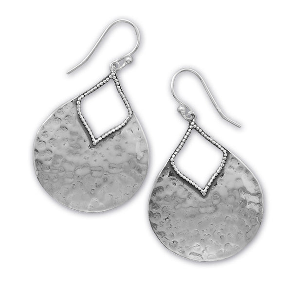 Oxidized Sterling Silver Hammered Boho Earrings - By E Artisan Jewelry