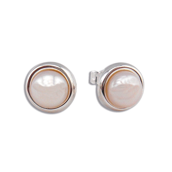 Sterling SIlver with Button Cultured Freshwater Pearl Stud Earrings - By E Artisan Jewelry