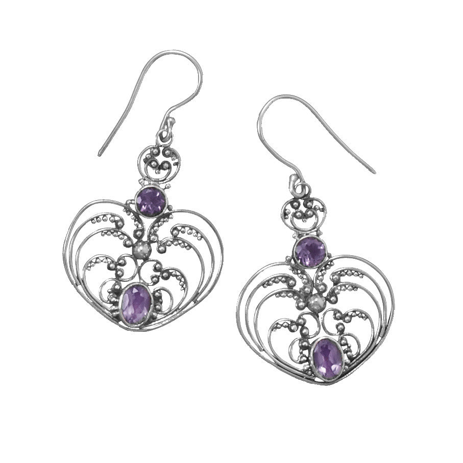 Oxidized Sterling Silver and Amethyst Earrings - By E Artisan Jewelry