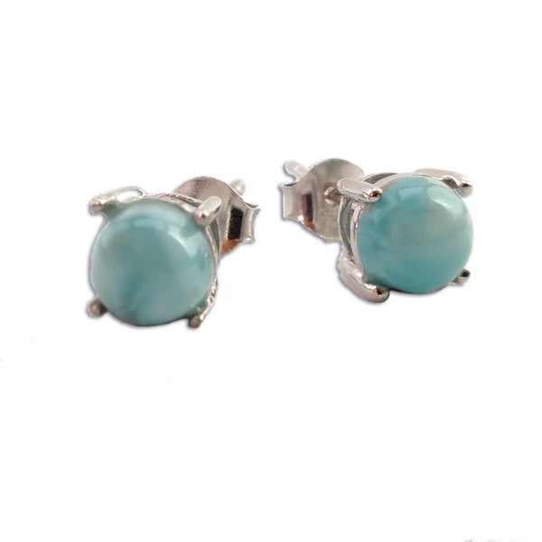 Larimar Stud Earrings - By E Artisan Jewelry