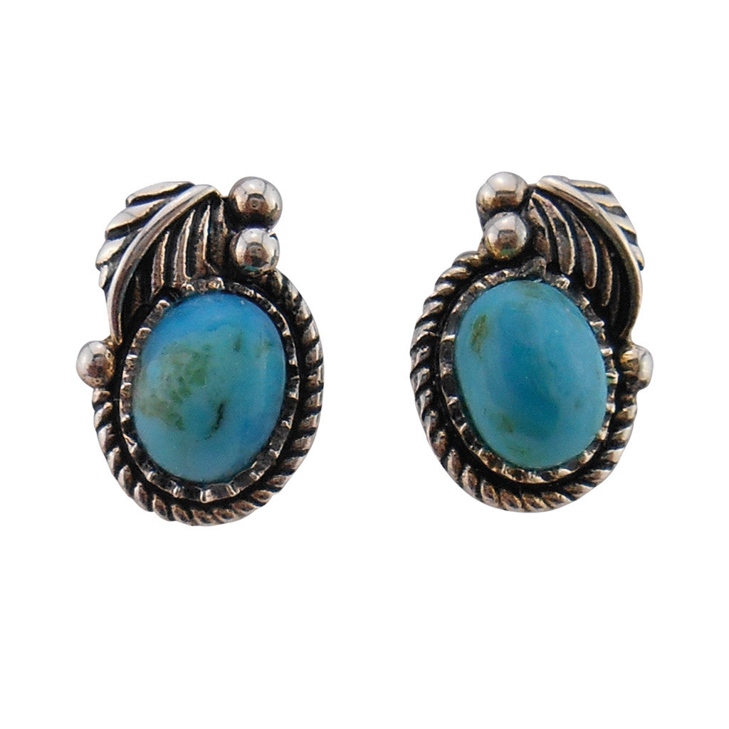 Sterling Leaf and Turquoise Post Earrings - By E Artisan Jewelry