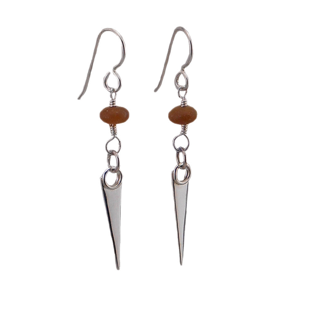 Sterling Silver and Wood Opalite Dagger Earrings - By E Artisan Jewelry