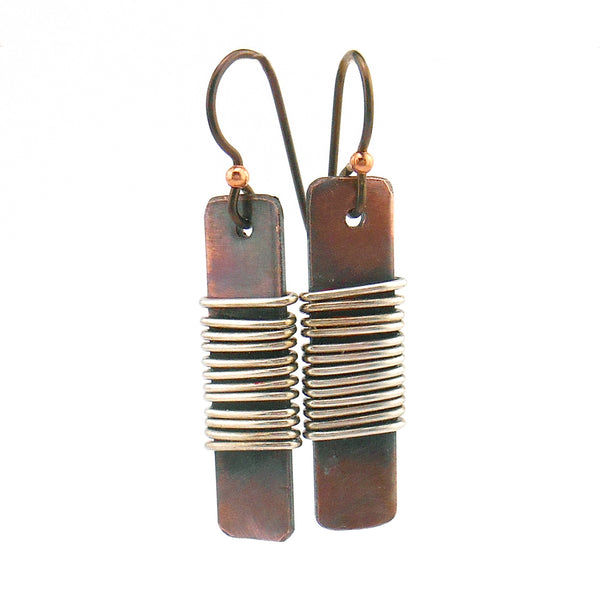 Copper and Sterling Silver Dangle Earrings