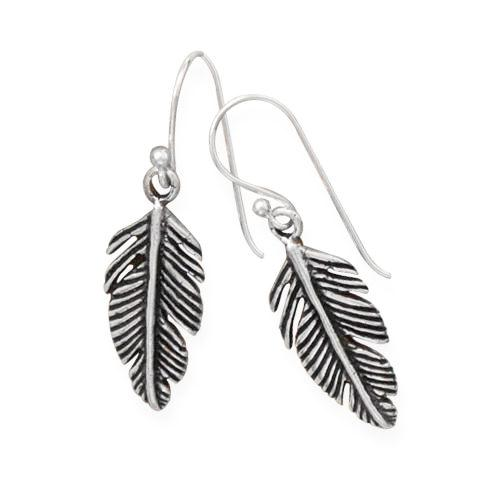 Oxidized Sterling Silver Feather Earrings - By E Artisan Jewelry