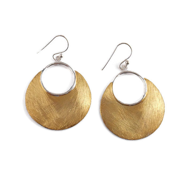 Sterling Silver Brushed with 14 Karat Gold Circle Earrings - By E Artisan Jewelry