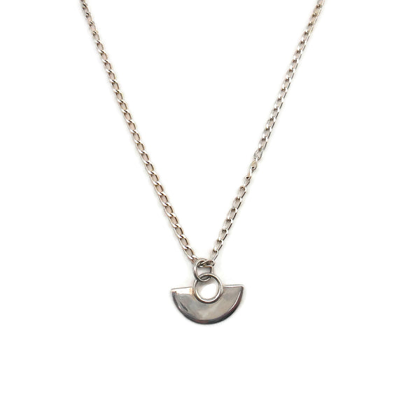 Sterling Silver Half Moon Necklace - By E Artisan Jewelry