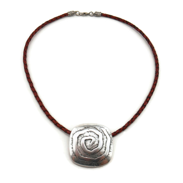 Swirls of Silver Necklace - Leather Necklace - By E Artisan Jewelry
