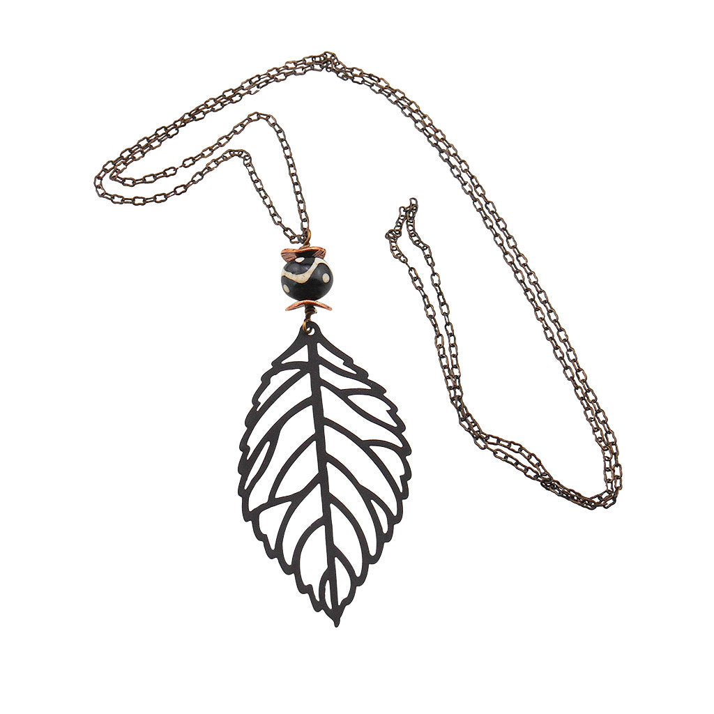 Autumn Leaf Necklace - By E Artisan Jewelry