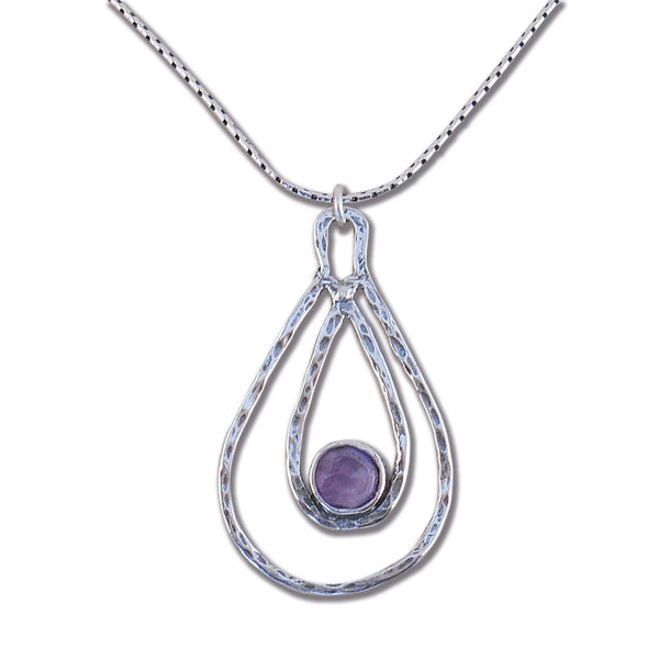 Amethyst and Sterling Silver Pear Necklace