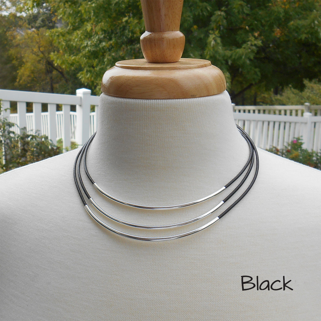 Leather and Silver Tube 3 Strand Necklace - By E Artisan Jewelry