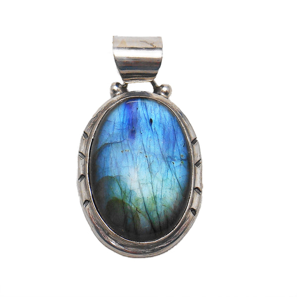 Stunning Labradorite and Sterling Silver Necklace - By E Artisan Jewerly