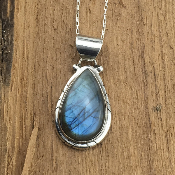 Mystical Labradorite and Sterling Silver Pendant Necklace - By E Artisan Jewelry