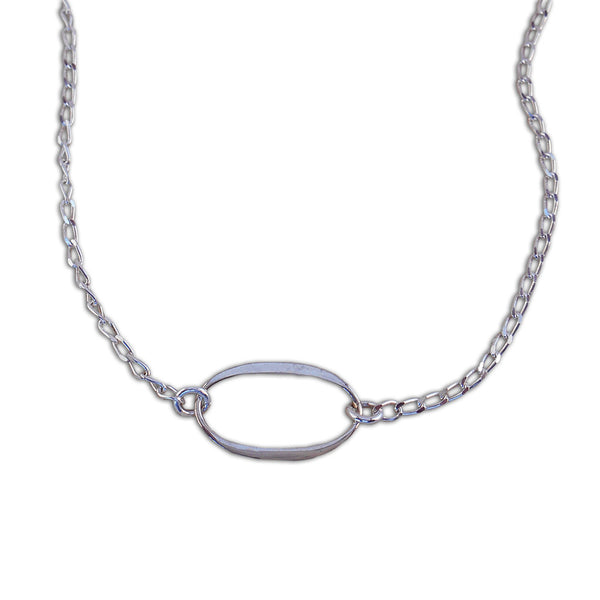 Delicate Sterling Silver Oval Necklace - By E Artisan Jewelry