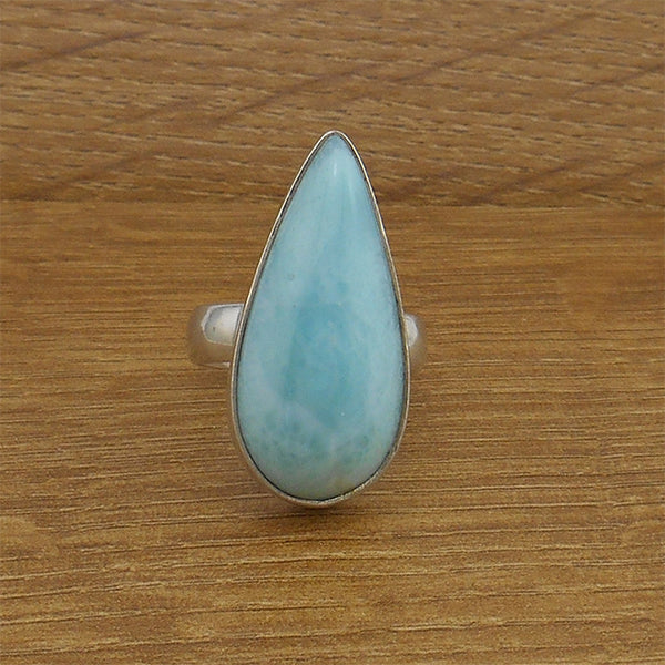 Larimar Teardrop Ring - By E Artisan Jewelry