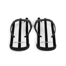 Load image into Gallery viewer, Unisex EPIC Flip-Flops | White-Black Stripes | Sizes: Men's 6-11 and Women's 7-12