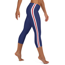 Load image into Gallery viewer, Women's EPIC Tech Capri Leggings | Navy - Red-White Stripes | Regular Waist | Sizes: XS - XL