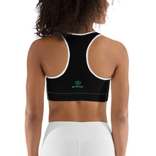 Load image into Gallery viewer, Women's EPIC Tech Sports Bra | Black - Turq-White Stripe | Scoop Neck - Racerback | Sizes: XS - 2XL (front view)