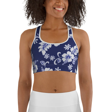 Women's EPIC Tech Sports Bra | Navy-White Hibiscus | Scoop Neck - Racerback | Sizes: XS - 2XL (front view)