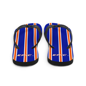 Unisex EPIC Flip-Flops | Deep Royal - Orange-White Stripes | Sizes: Men's 6-11 and Women's 7-12