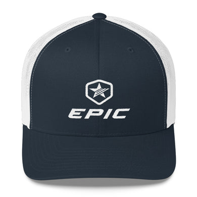 EPIC Retro Mesh Cap | Navy-White | Adjustable | White Epic-Epic Hex Star | One Size Fits Most