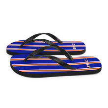 Load image into Gallery viewer, Unisex EPIC Flip-Flops | Deep Royal - Orange-White Stripes | Sizes: Men's 6-11 and Women's 7-12