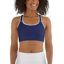 Load image into Gallery viewer, Women's EPIC Tech Sports Bra | Navy | Scoop Neck - Racerback | Sizes: XS - 2XL (front view)