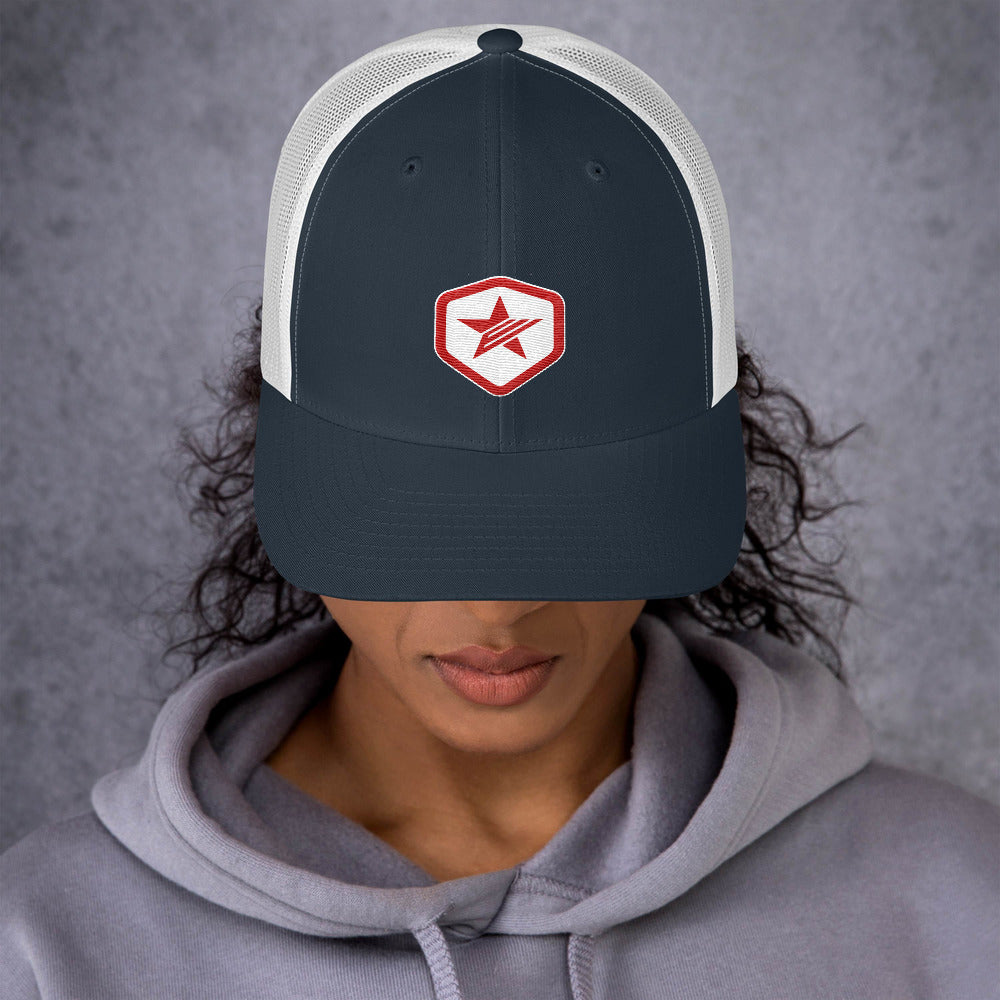 EPIC Retro Mesh Cap | Navy-White | Adjustable | Red-White Epic Hex Star | One Size Fits Most