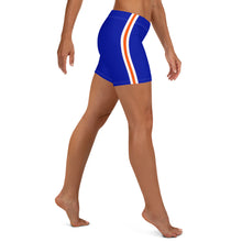 Load image into Gallery viewer, Women's EPIC Tech Shorts | Deep Royal - Orange-White Stripes | Regular Waist | Sizes: XS - 3XL