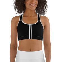 Load image into Gallery viewer, Women's EPIC Tech Sports Bra | Black - Black-White Stripe | Scoop Neck - Racerback | Sizes: XS - 2XL (back view)