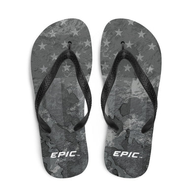 Unisex EPIC Flip-Flops | Distressed Black-Grey Stars & Stripes | Sizes: Men's 6-11 and Women's 7-12