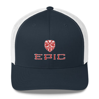 EPIC Retro Mesh Cap | Navy-White | Adjustable | Red-White Tiki Epic-Epic Tiki | One Size Fits Most