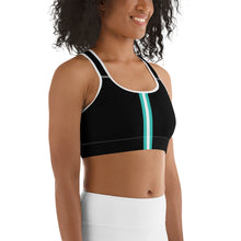 Load image into Gallery viewer, Women's EPIC Tech Sports Bra | Black - Turq-White Stripe | Scoop Neck - Racerback | Sizes: XS - 2XL (back view)