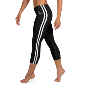 Women's EPIC Tech Capri Leggings | Black - Black-White Stripes | Regular Waist | Sizes: XS - XL