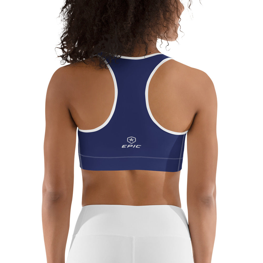 Women's EPIC Tech Sports Bra | Navy - Navy-White Stripe | Scoop Neck - Racerback | Sizes: XS - 2XL (back view)