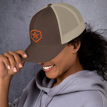 Load image into Gallery viewer, EPIC Retro Mesh Cap | Brown-Beige | Adjustable | Orange Epic Hex Star | One Size Fits Most