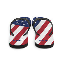 Load image into Gallery viewer, Unisex EPIC Flip-Flops | Red-White-Blue Flag | Sizes: Men's 6-11 and Women's 7-12