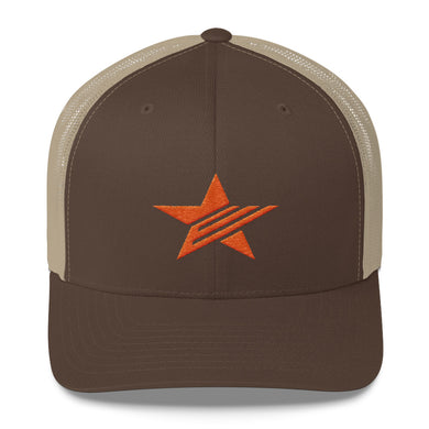 EPIC Retro Mesh Cap | Brown-Beige | Adjustable | Orange Epic Star | One Size Fits Most