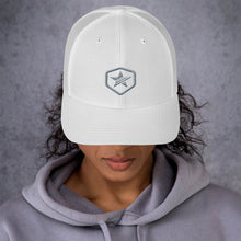 Load image into Gallery viewer, EPIC Retro Mesh Cap | White-White | Adjustable | Grey Epic Hex Star | One Size Fits Most