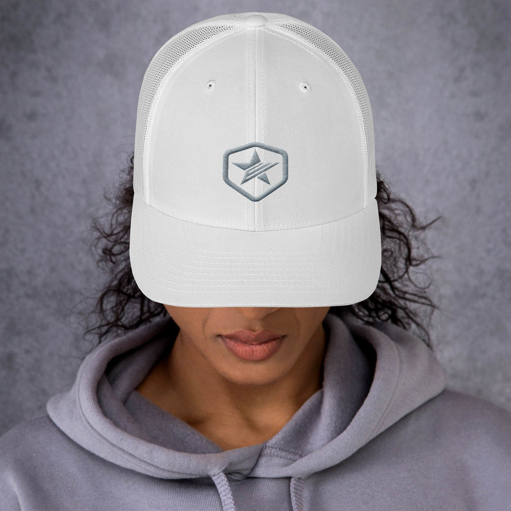 EPIC Retro Mesh Cap | White-White | Adjustable | Grey Epic Hex Star | One Size Fits Most