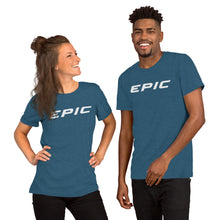 Load image into Gallery viewer, Unisex EPIC Short Sleeve Crew Neck T-Shirt | Heather Teal | Contemporary Fit | Lt. Grey Epic | Sizes: S - 4XL