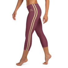 Load image into Gallery viewer, Women's EPIC Tech Capri Leggings | Garnet - Garnet-Gold Stripes | Regular Waist | Sizes: XS - XL