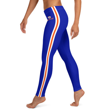 Women's EPIC Tech Leggings | Deep Royal - Orange-White Stripes | Regular Waist | Sizes: XS - XL