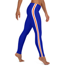 Load image into Gallery viewer, Women's EPIC Tech Leggings | Deep Royal - Orange-White Stripes | Regular Waist | Sizes: XS - XL