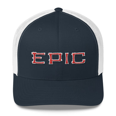 EPIC Retro Mesh Cap | Navy-White | Adjustable | Red-White Tiki Epic | One Size Fits Most