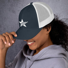 Load image into Gallery viewer, EPIC Retro Mesh Cap | Navy-White | Adjustable | White Epic Star | One Size Fits Most