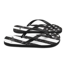 Load image into Gallery viewer, Unisex EPIC Flip-Flops | Distressed Black-Grey Flag | Sizes: Men's 6-11 and Women's 7-12