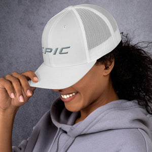 EPIC Retro Mesh Cap | White-White | Adjustable | Grey Epic | One Size Fits Most